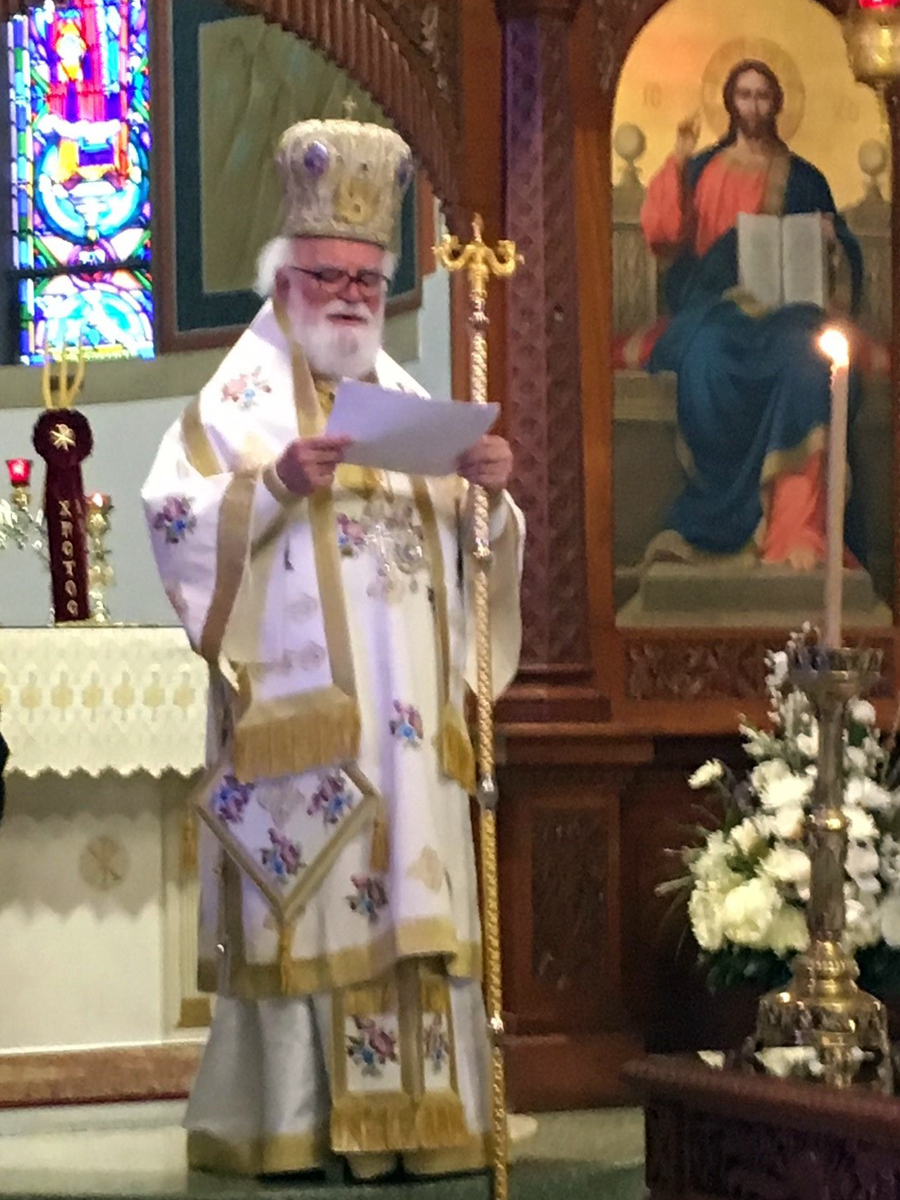 Picture Caption: May 6, 2018: His Eminence Metropolitan Alexios reading the names of the departed during the traditional memorial service.